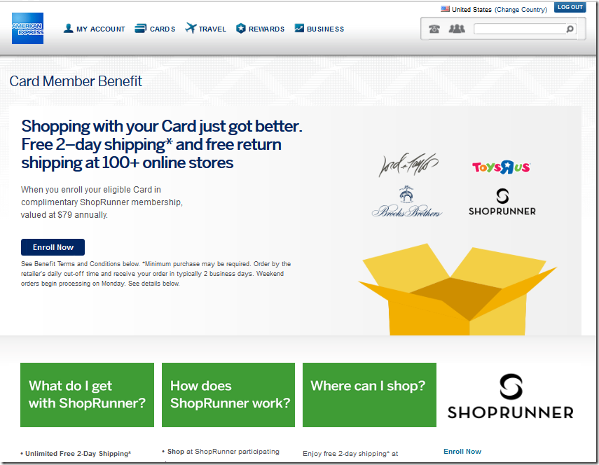 American Express 信用卡免费使用ShopRunner