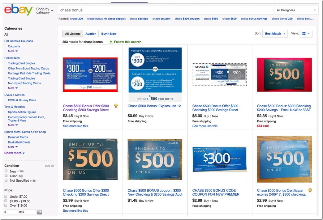 在eBay可以便宜买到Chase大通银行开户的邀请码