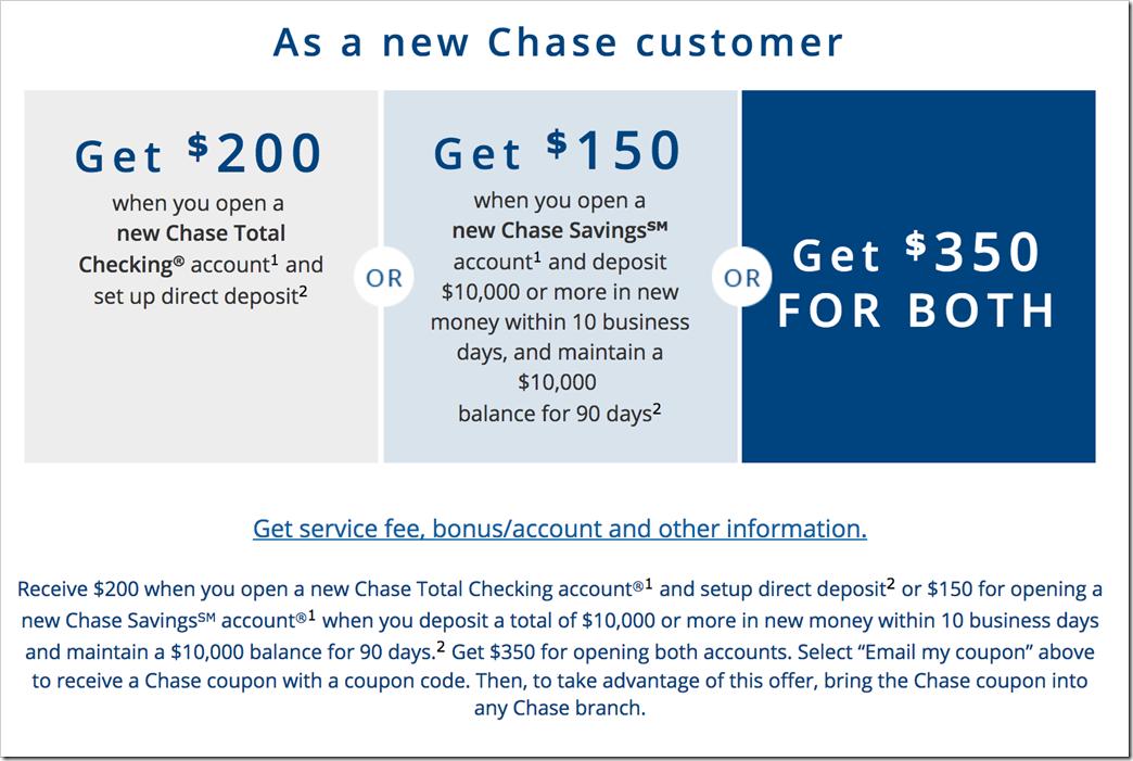 在Chase大通银行开户,可以拿到$350现金奖励
