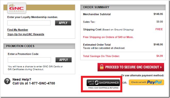 GNC ShopRunner Checkout