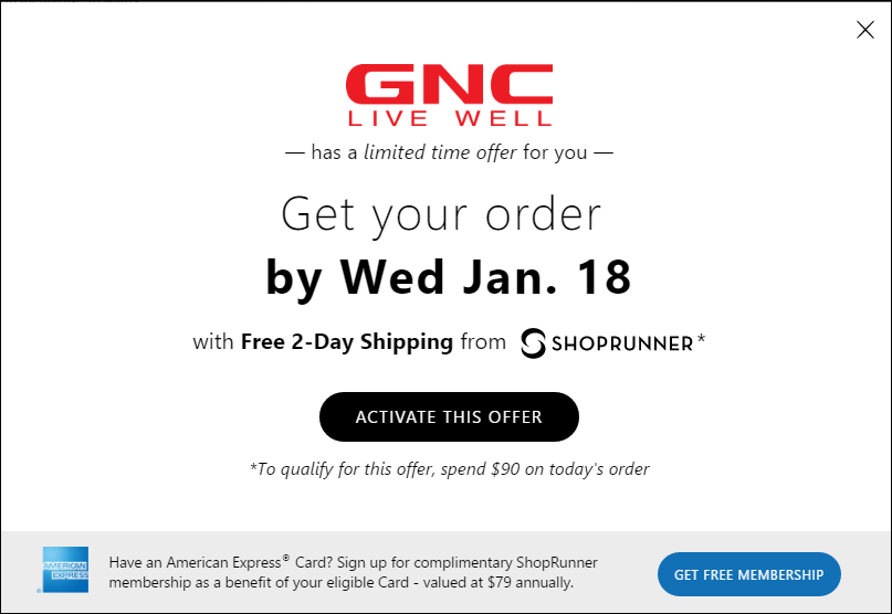 ShopRunner free membership offer
