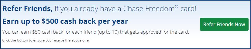 Chase Freedom 推荐好友办卡赚$50美金
