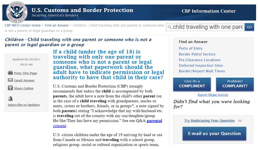 与未成年入境或离境美国一定要带父母或其他监护人的授权委托书
