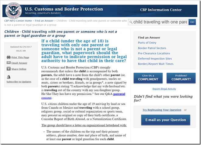 未成年入境或离境美国一定要带父母或其他监护人的授权委托书