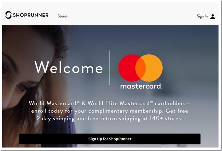 有Master卡可以免费使用ShopRunner Free 2-Day Shipping 服务