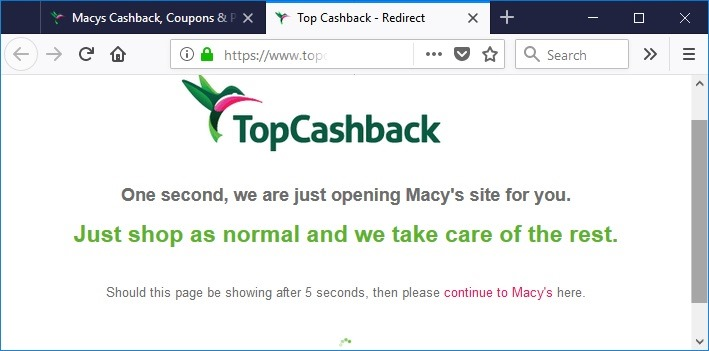 Topcashback.com 点击返现按钮跳转到 macys.com