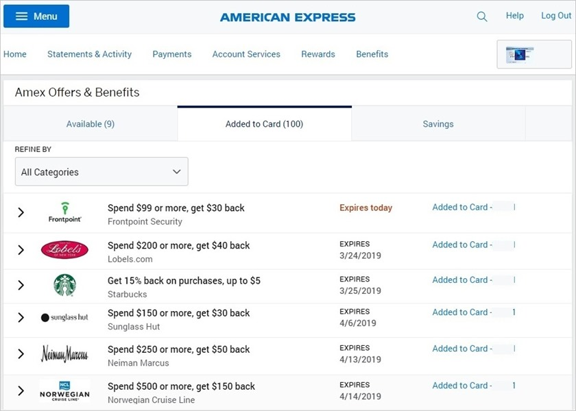 Amex Offers, American Express信用卡Offer福利