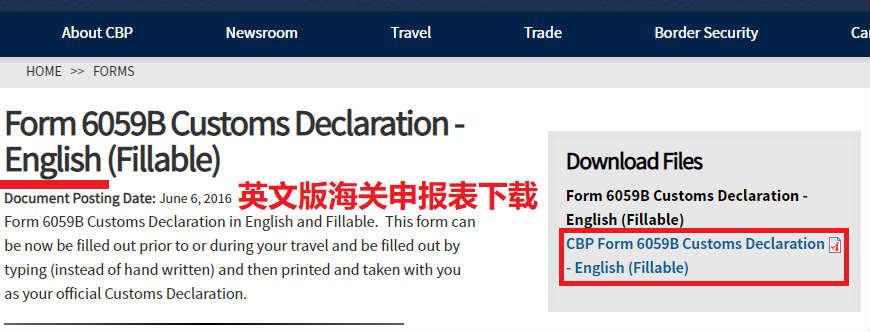 美国海关申报表英文版PDF文件下载