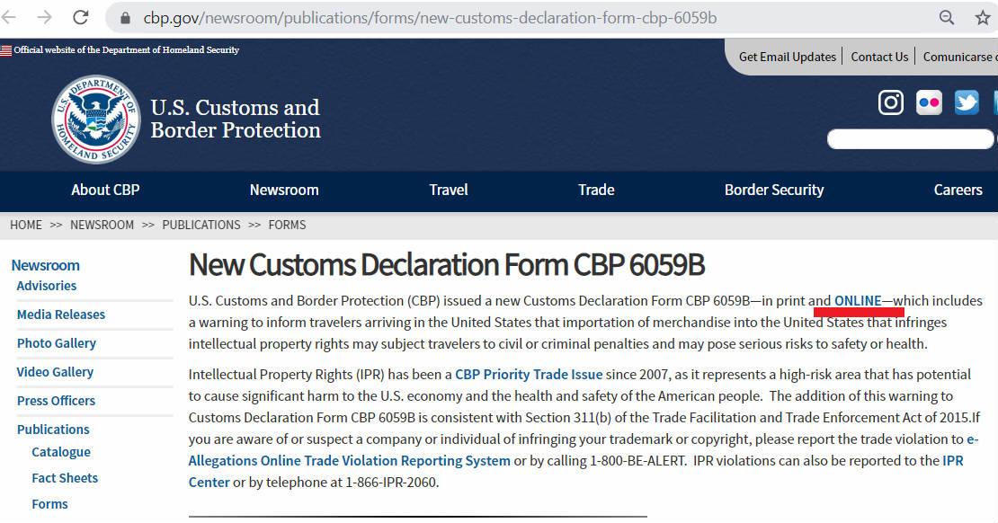 美国海关官网关于最新海关申报表的说明页面