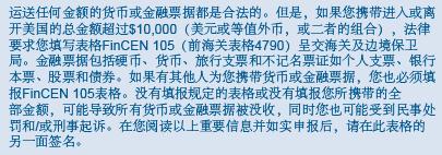 美国海关申报表 FinCEN 105表格