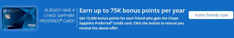 Chase Sapphire Preferred 蓝宝石卡,推荐好友办卡奖励15,000点数