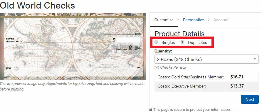 Costco 购买个人支票