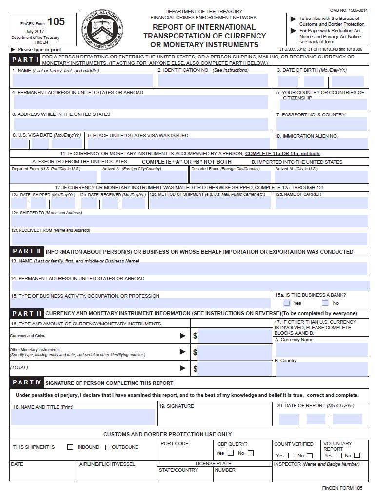美国海关出入境 FinCEN 105 form 申报表格