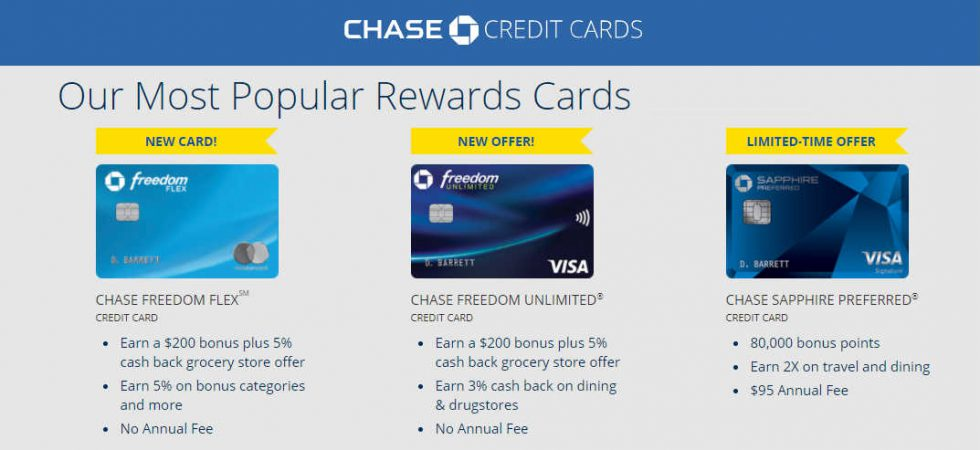 Chase大通银行主流常用必备信用卡