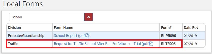交通罚单 申请Traffic School